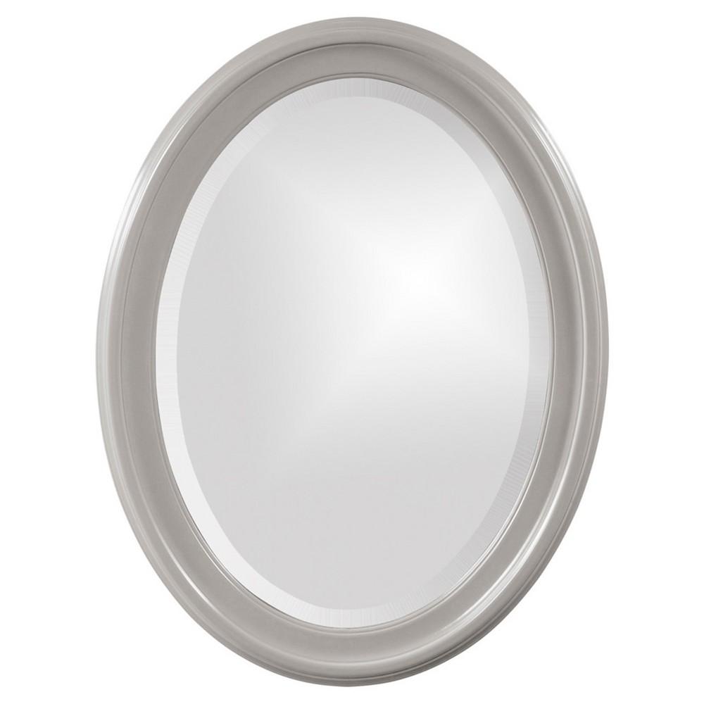 Howard Elliott - George Glossy -Nickel Oval Mirror, Gray