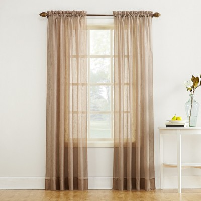 Erica Crushed Sheer Voile Rod Pocket Curtain Panel Taupe 51 x63  - No. 918