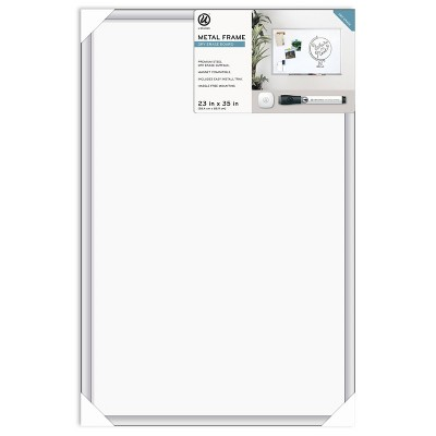 "U Brands 23""x35"" Magnetic Dry Erase Board Aluminium Frame with Marker"