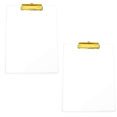 """2-Pack Clear Clipboard with Gold Clip for Letter Size A4 Paper, 12"""" x 9"""""""