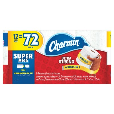 Charmin Ultra Strong Toilet Paper - 12 Super Mega Rolls