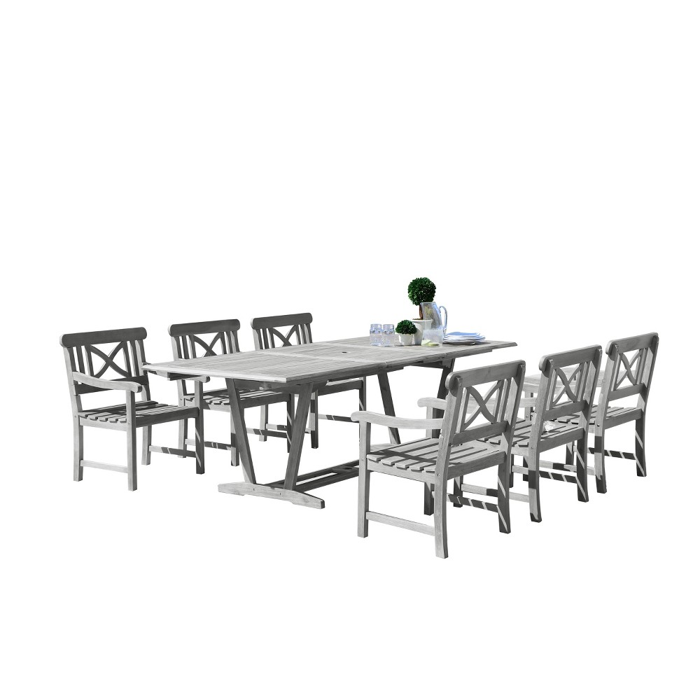 Vifah Renaissance Eco-friendly 7-Piece Outdoor Hand-scraped Dining Set with Rectangle Extension Table and Arm Chairs - Gray