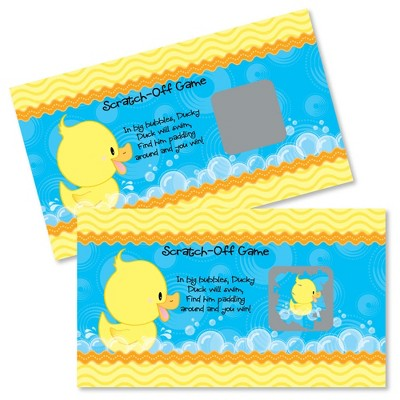 Big Dot of Happiness Ducky Duck - Baby Shower or Birthday Party Game Scratch Off Cards - 22 Count