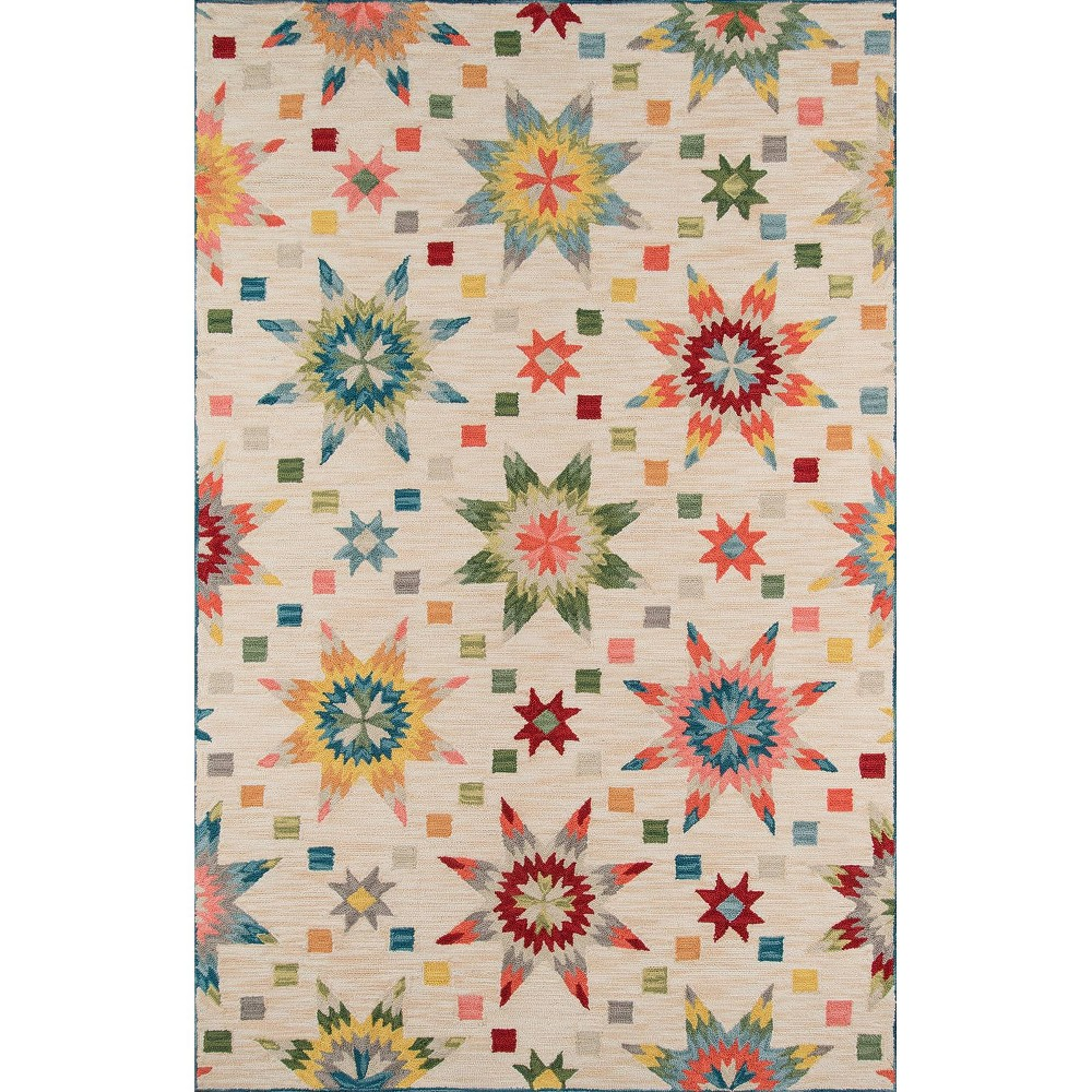 Geometric Tufted and Hooked Accent Rug 3'6