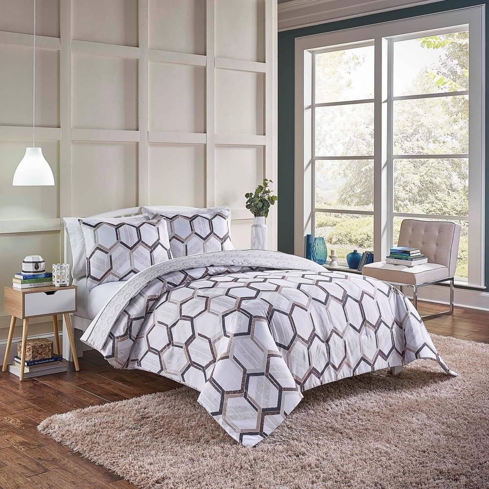 3pc King Hexagonal Reversible Comforter Set Neutral Vue