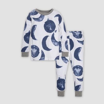 Burt's Bees Baby® Toddler Boys' Watercolor Moons Organic Cotton Pajama Set - Indigo 3T