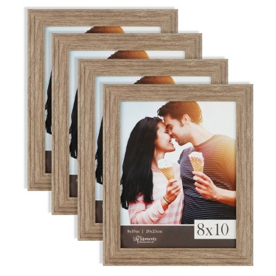 """4pc (8"""" x 10"""") Farmhouse Barn Wood Tabletop or Wall Mount Picture Frames - Life Moments"""