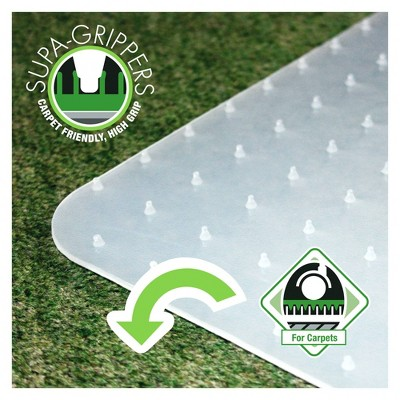 "29""x46"" Polypropylene Chair Mat for Carpets Rectangular White - Floortex"