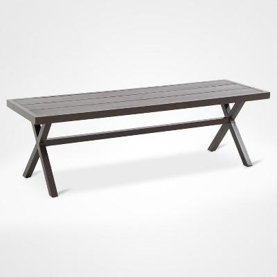 Mayhew Aluminum X-Base Patio Bench - Brown - Threshold™