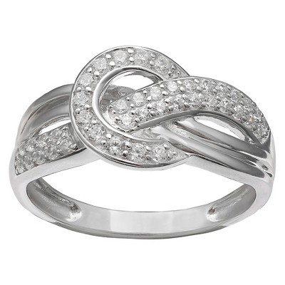 Women's Sterling Silver Pave CZ Crossover Ring