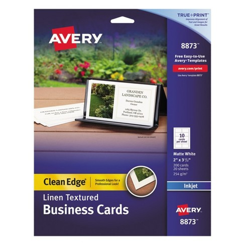 avery inkjet two sided clean edge business cards linen white 200