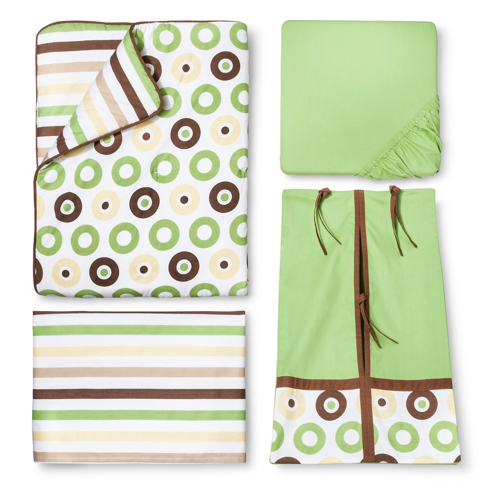 Image of Bacati Crib Bedding Set - 10pc - Green Mod Dots & Stripes
