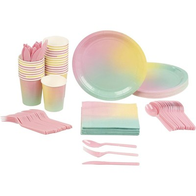 Blue Panda 144 Pieces Rainbow Pastel Party Bundle, Includes Plates, Napkins, Cups, and Cutlery (24 Guests)
