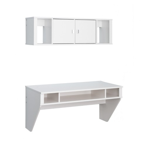 Designer Floating Desk And Hutch Set White Prepac