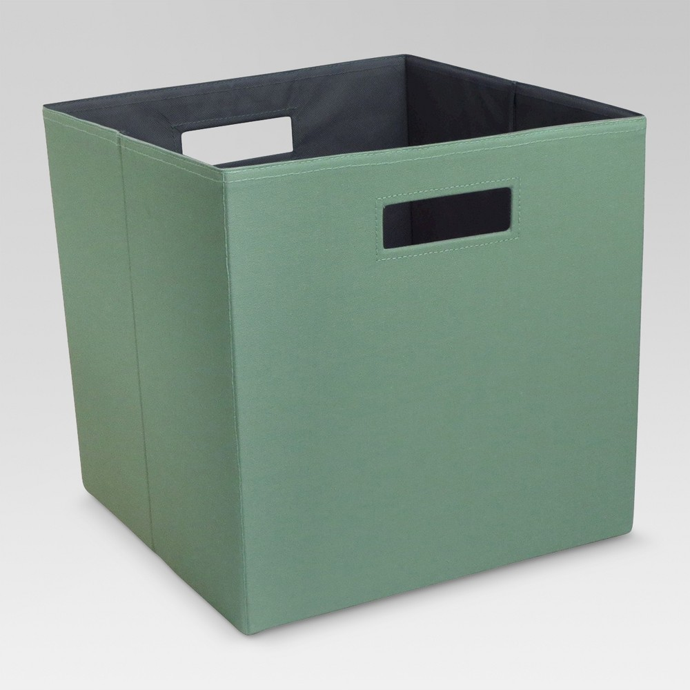 "Image of ""13"""" Fabric Cube Storage Bin Green - Threshold , Green Fig"""