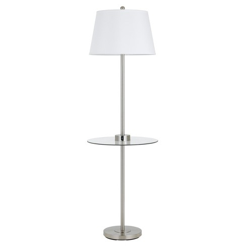 Way Woodbury Metal Floor Lamp With Glass Tray Table 150w 3 Steel (Includes Energy Efficient Light Bulb) - Cal Lighting - image 1 of 1