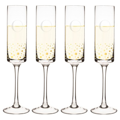 Cathy's Concepts® 4pc Monogram Gold Dots Champagne Flutes O