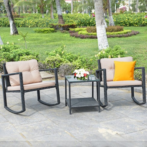 Costway 3 Piece Patio Wicker Bistro, 3 Piece Wicker Patio Conversation Set With Beige Cushions