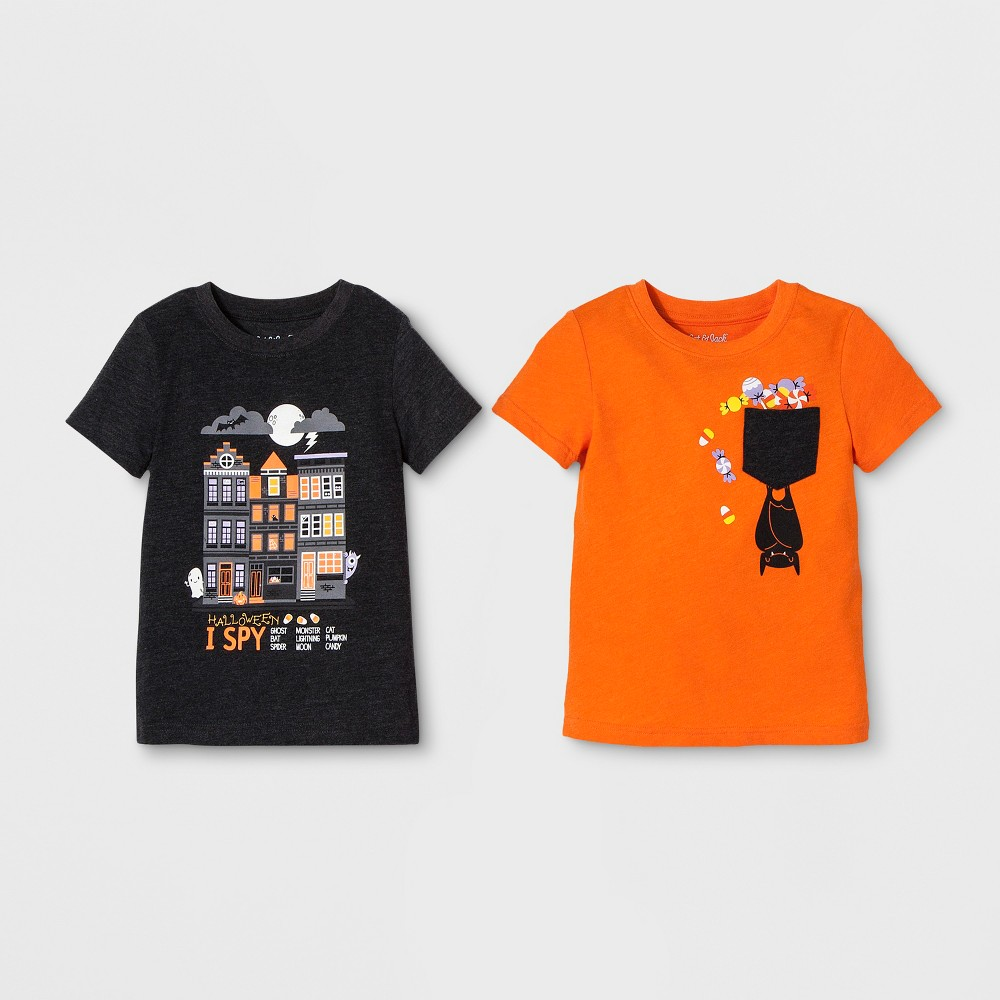 Toddler Boys' 2pk Graphic Short Sleeve T-Shirt - Cat & Jack Orange/Black 4T