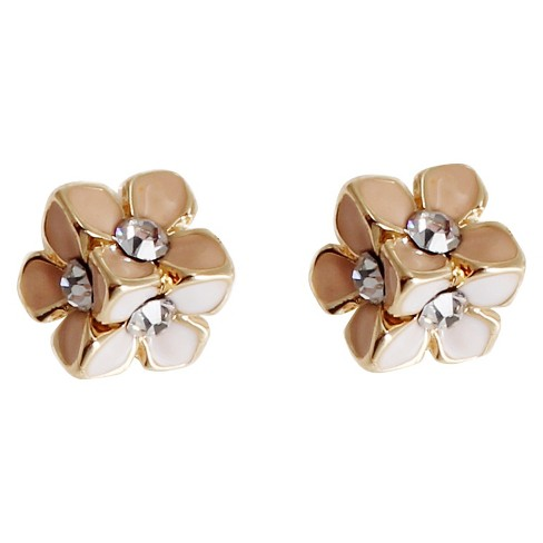 Women's Front/Back Earring with Flower - Gold/Ivory - image 1 of 1