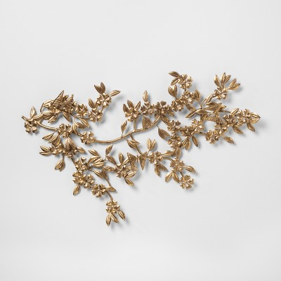 Leaf And Flower Decorative Wall Sculpture Gold 17.4 x 1.4  - Opalhouse™