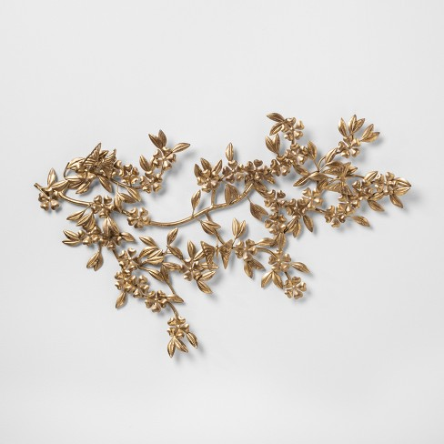 "Leaf And Flower Decorative Wall Sculpture Gold 17.4""x 1.4"" - Opalhouse™ - image 1 of 4"