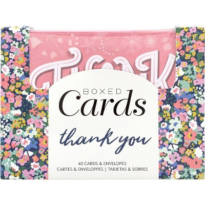 """American Crafts A2 Cards W/Envelopes 4""""X6"""" 40/Box-Blank - Thank You"""