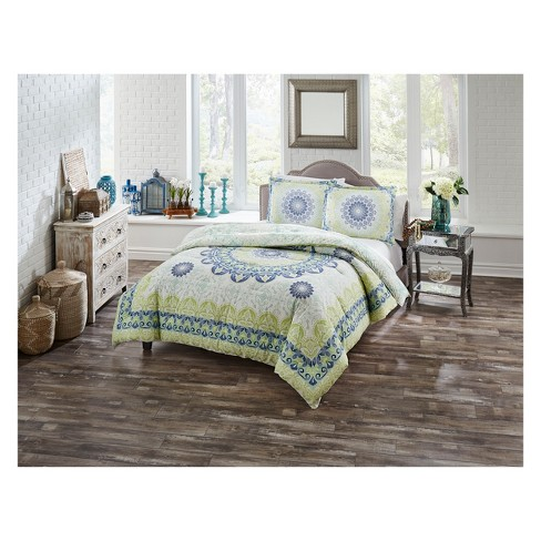 Spa Blue Gemology Reversible Comforter Set - Boho Boutique - image 1 of 3
