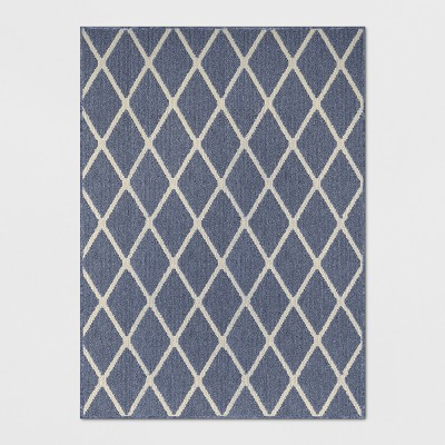 "4'X5'5"" Diamond Washable Tufted And Hooked Accent Rug Indigo - Threshold™"