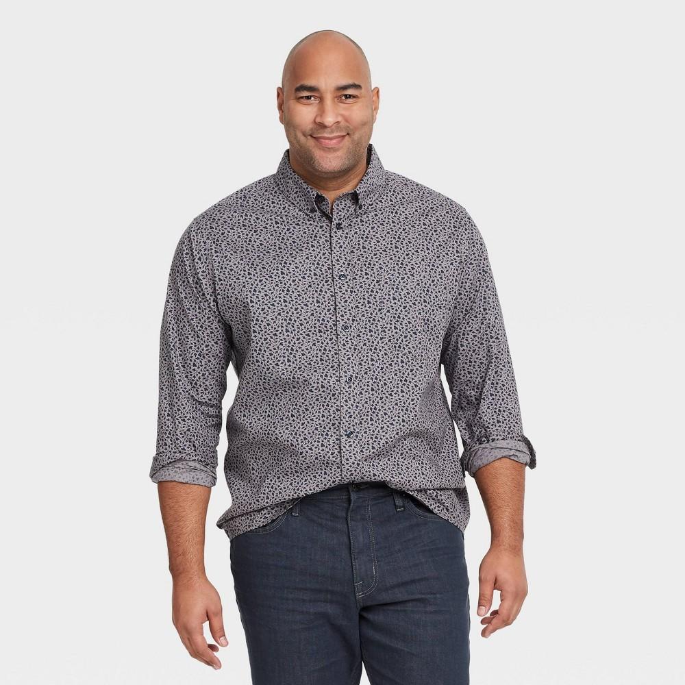 Men 39 S Tall Floral Print Standard Fit Stretch Poplin Long Sleeve Button Down Shirt Goodfellow 38 Co 8482 Royal Blue Mt