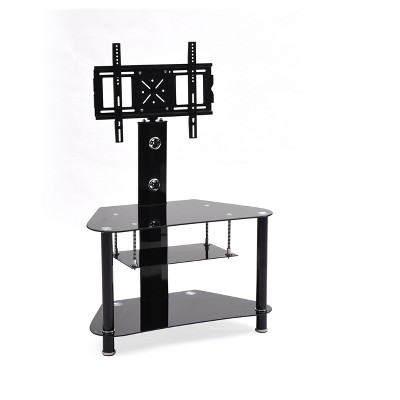 """Swiveling Mount and 3 Shelf Glass TV Stand for TVs up to 42"""" Black - Hodedah Import"""