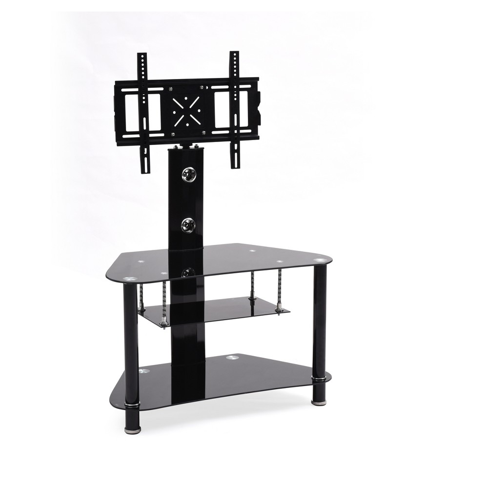 "Image of ""3 Shelf Glass TV Stand with Swiveling Mount Black 36"""" - Hodedah Import"""