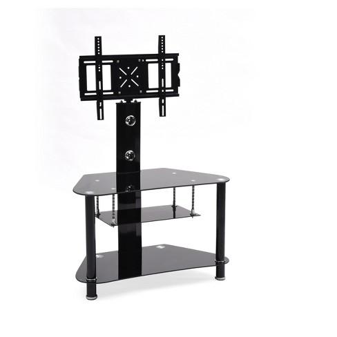 3 Shelf Glass Tv Stand With Swiveling Mount Black 36 Hodedah