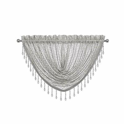 Kate Aurora Elegant Crystal Beaded Chevron Design Window Valances & Curtain Panels