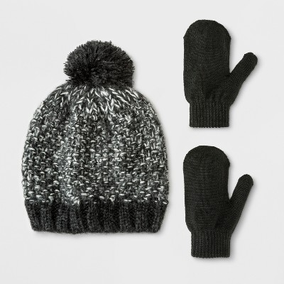 Toddler Boys' Beanie and Mitten Set - Cat & Jack™ Black 2T-5T