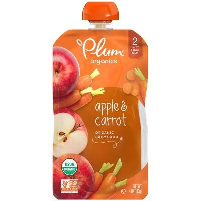 Plum Organics Apple & Carrot Baby Food Pouch - 4oz