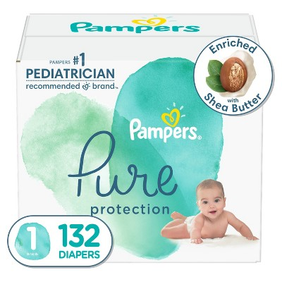 Pampers Pure Protection Disposable Diapers Enormous Pack Size 1 - 132ct