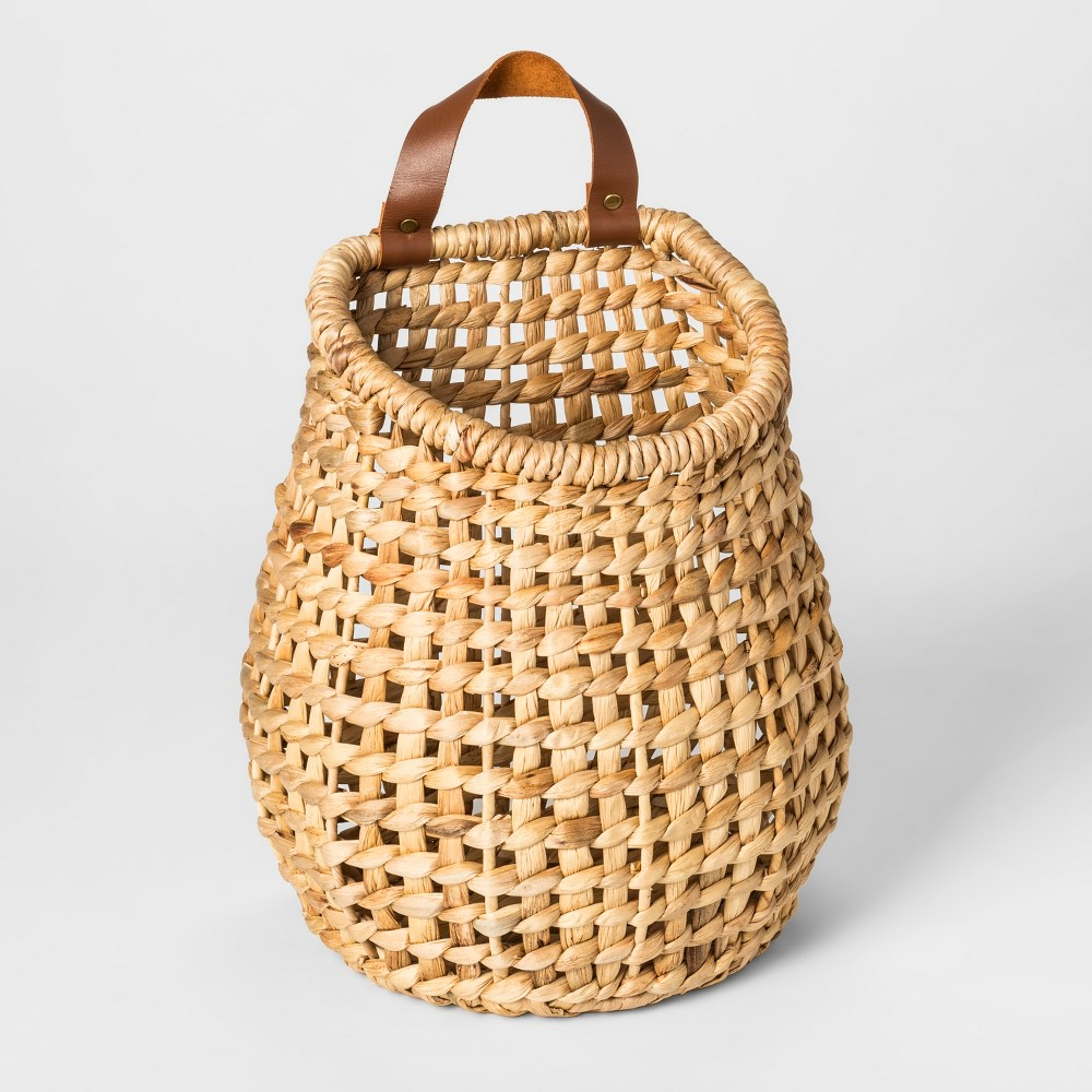 "Image of ""10.2"""" x 7"""" Hanging Water Hyacinth Basket with Leather Handle Natural - Threshold , White"""