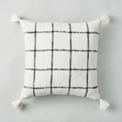 """24"""" x 24"""" Woven Slub Checkered Throw Pillow with Tassels Gray/Sour Cream - Hearth & Hand™ with Magnolia"""