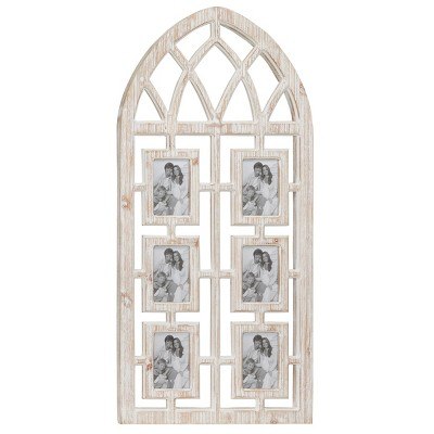 """19"""" x 41"""" Whitewashed Cathedral Wood Picture Frame Photo Collage Wall Decor with 6 Photo Holders - Olivia & May"""