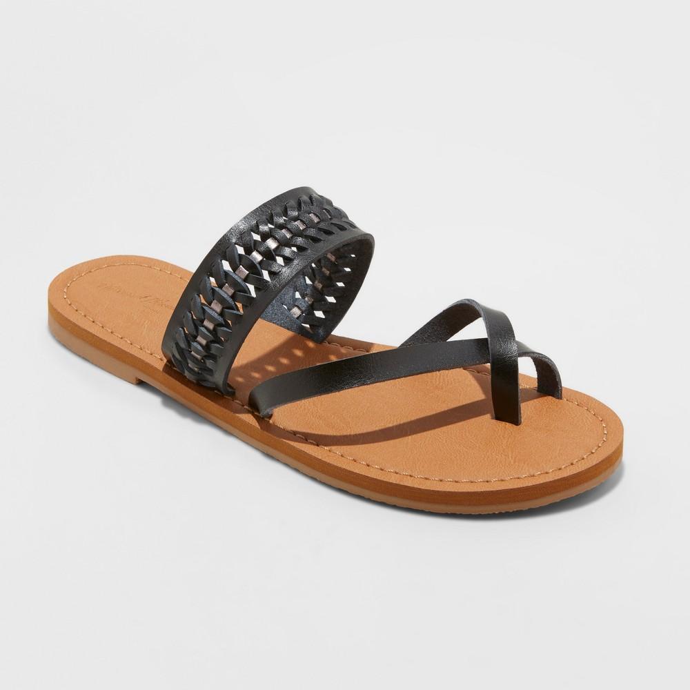 Women's Taryn Woven Toe Ring Sandals - Universal Thread Black 5.5