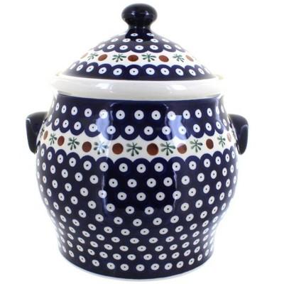 Blue Rose Polish Pottery Nature Cookie Jar
