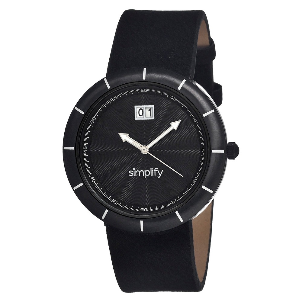 Women's Simplify the 1300 Watch with Engraved Sunray Dial - Black