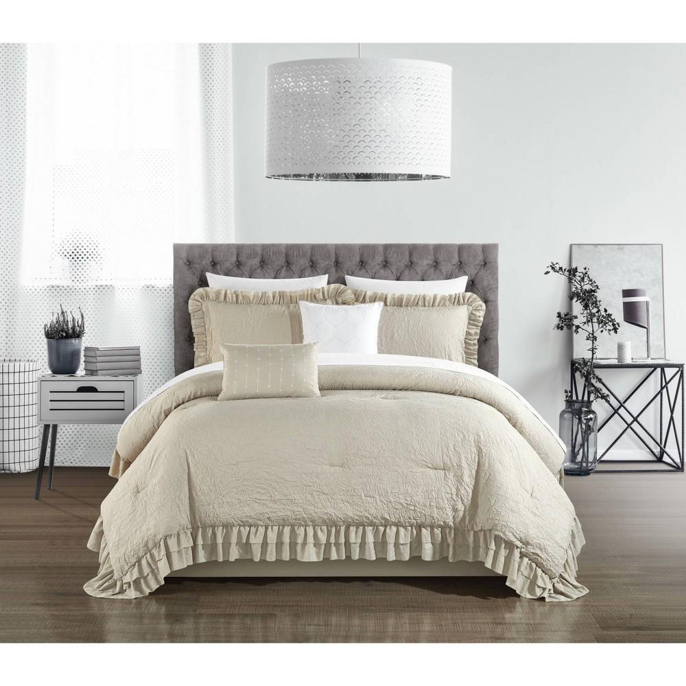 Queen 5pc Kaci Comforter Set Beige Chic Home Design