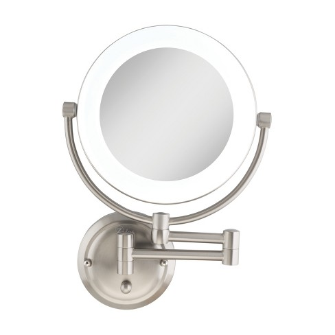 Zadro Fluorescent Lighted Wall-Mount Mirror, Infinity Dimmer, Hardwire, 10X / 1X Power - Satin Nickel - image 1 of 3
