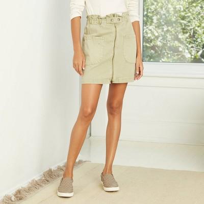 Women's High-Rise Paperbag Denim Skirt - Universal Thread™