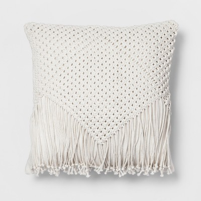 Cream Macrame Fringe Throw Pillow - Opalhouse™