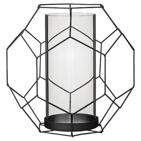 "Metal Geometric Votive Holder with Glass Insert Black 9"" - 3R Studios® - image 1 of 1"