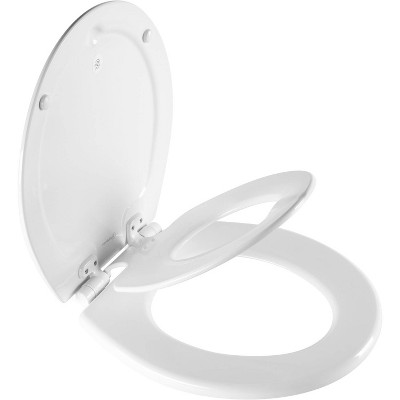 Mayfair NextStep2 Never Loosens Round Enameled Wood Children's Potty Training Toilet Seat with Easy Clean and Slow Close Hinge - White
