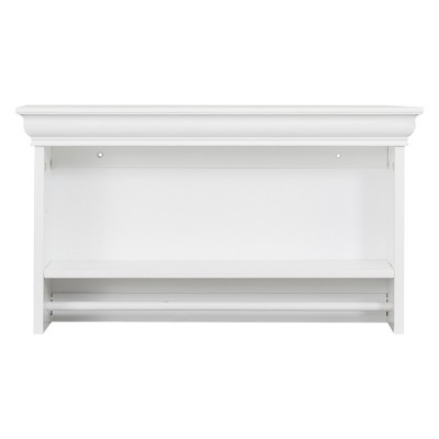 Bon Bourbon Wall Shelf With Open Shelf And Towel Rod Decorative Wall Cabinet  White   Elegant Home Fashions : Target